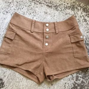 High-waisted Brown Suede Shorts
